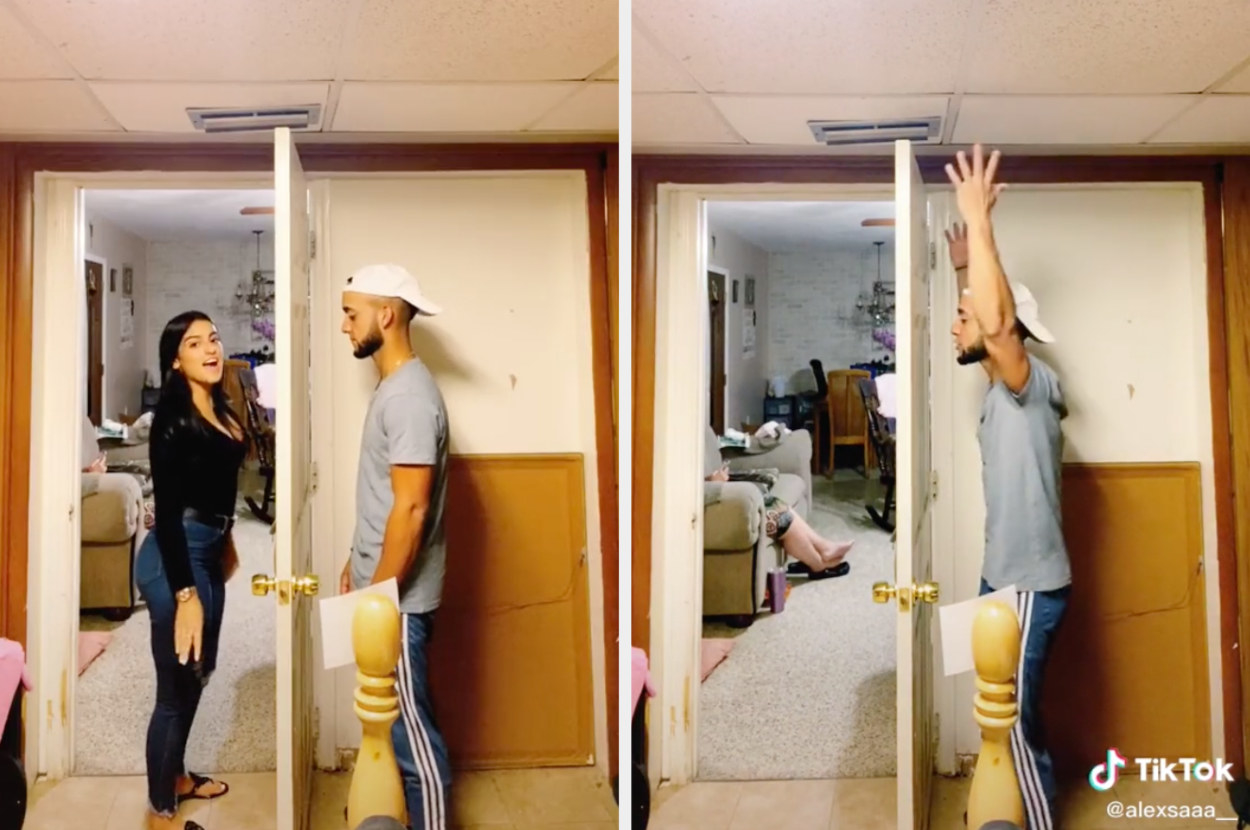 A couple is separated by a doorframe and can't see each other, the woman leaves mid-song, and her boyfriend obliviously continues to sing