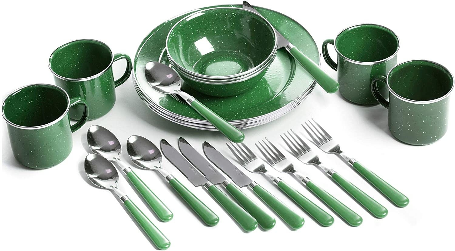 Photo of the green and white speckled set. There are four plates, four bowls, and four mugs, along with four each of forks, knives, and spoons