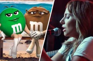 The lesbian green and brown M&Ms holding hands next to Ally from A Star is Born singing