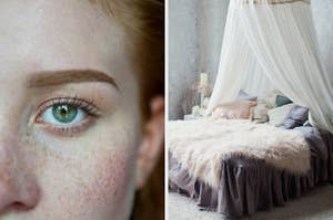 On the left, a close up shot of a person with green eyes and red hair, and on the right, a cozy bedroom with a canopy bed and fuzzy blankets