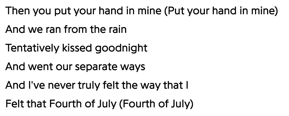 Mariah Carey's lyrics in Fourth of July, which was written for her album Butterfly.