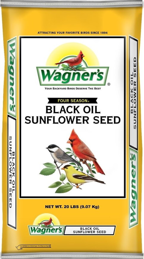 A bag of the black oil sunflower seeds featuring a finch, cardinal, and chickadee