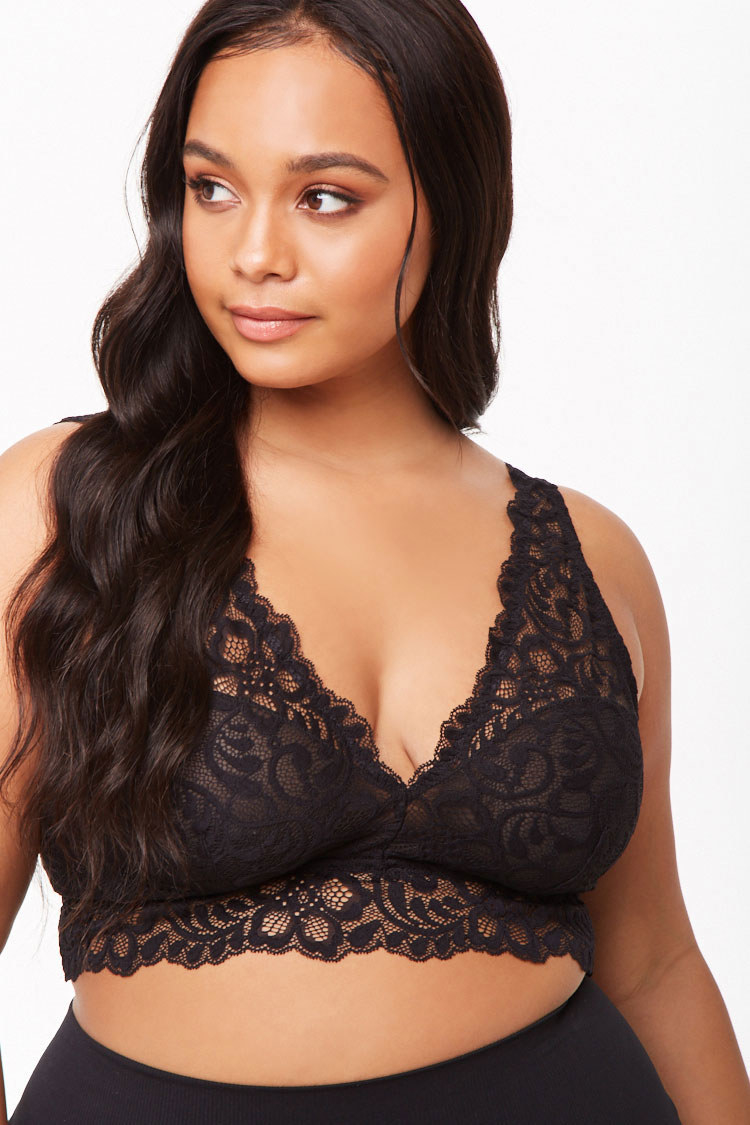 Model wearing the V-neck lace bralette