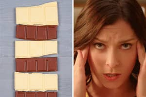 On the left, pieces of white and milk chocolate on a wooden table, and on the right, Rachel Bloom rubs her temples in distress as Rebecca on