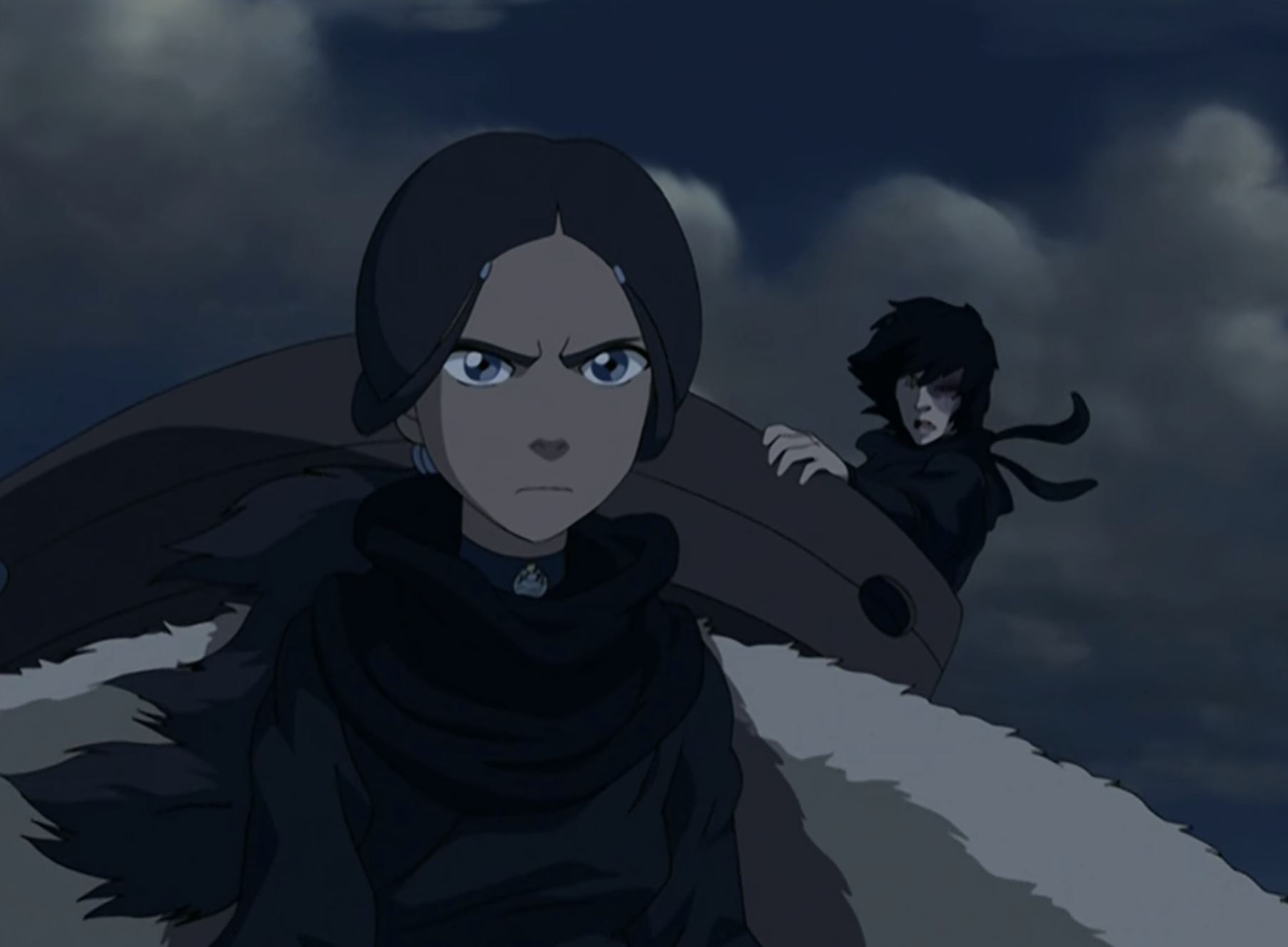 Katara and Zuko traveling together on Appa, the sky bison.