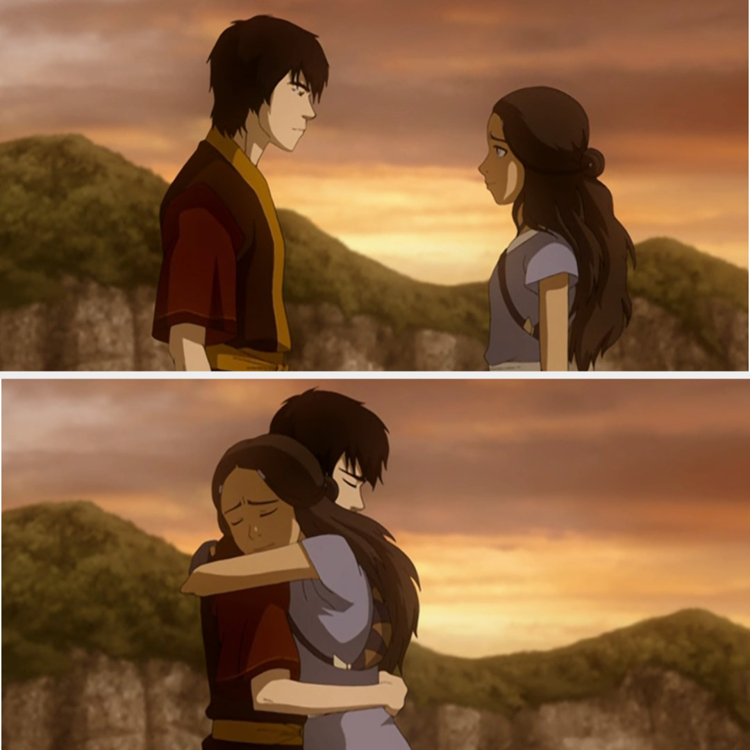 Katara and Zuko hugging tightly.