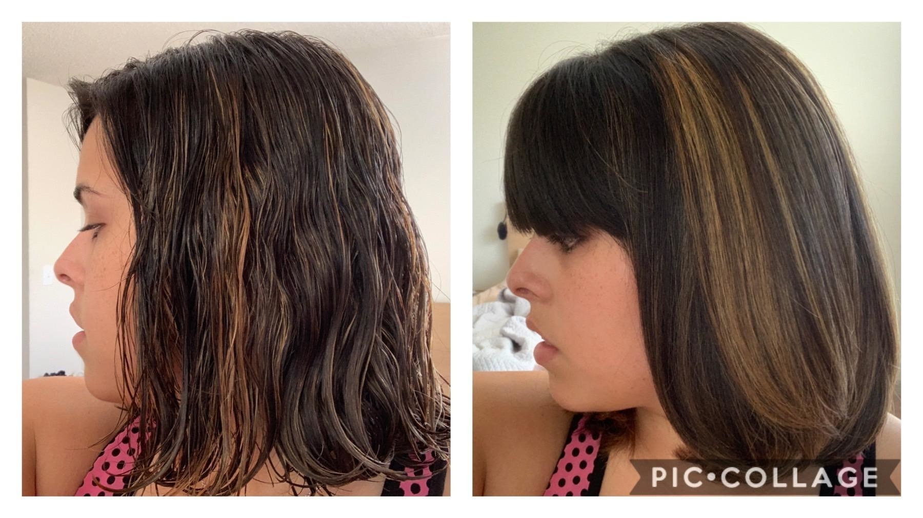 A before/after of a reviewer with wet, wavy hair, and then a sleek but voluminous blowout