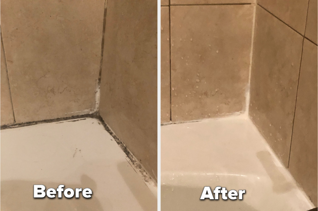 BuzzFeed Shopping editor's before-and-after of a moldy corner of a shower compared to the mold almost completely gone