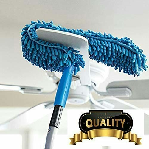 Blue microfiber brush with an extended rod being used to clean a ceiling fan.