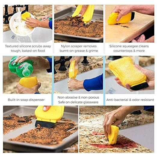 Images of the brush used to clean different surfaces like baking trays, kitchen counters, glasses and plates.