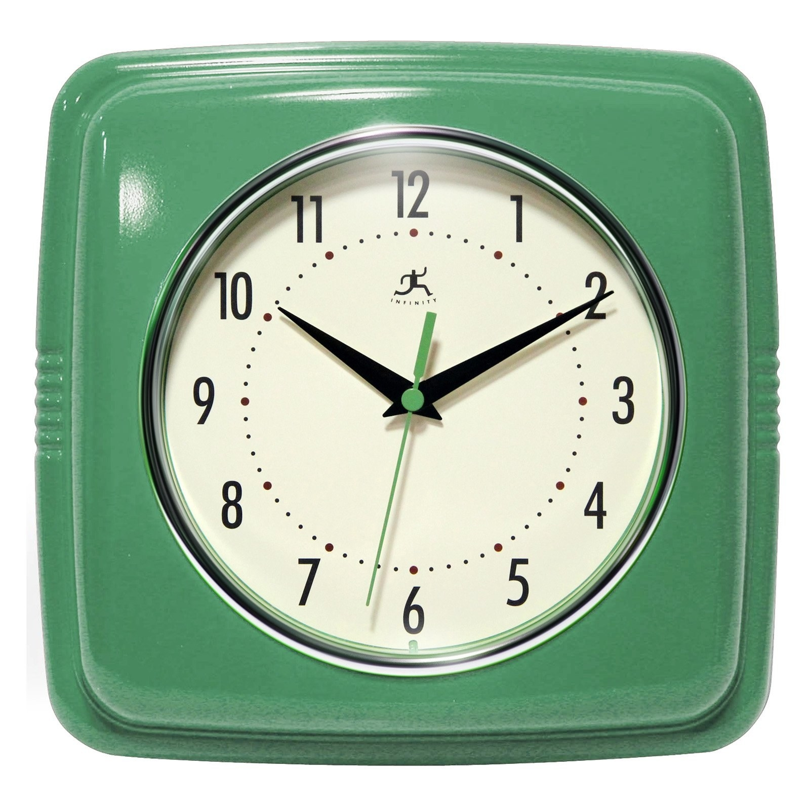 A green square-shaped clock