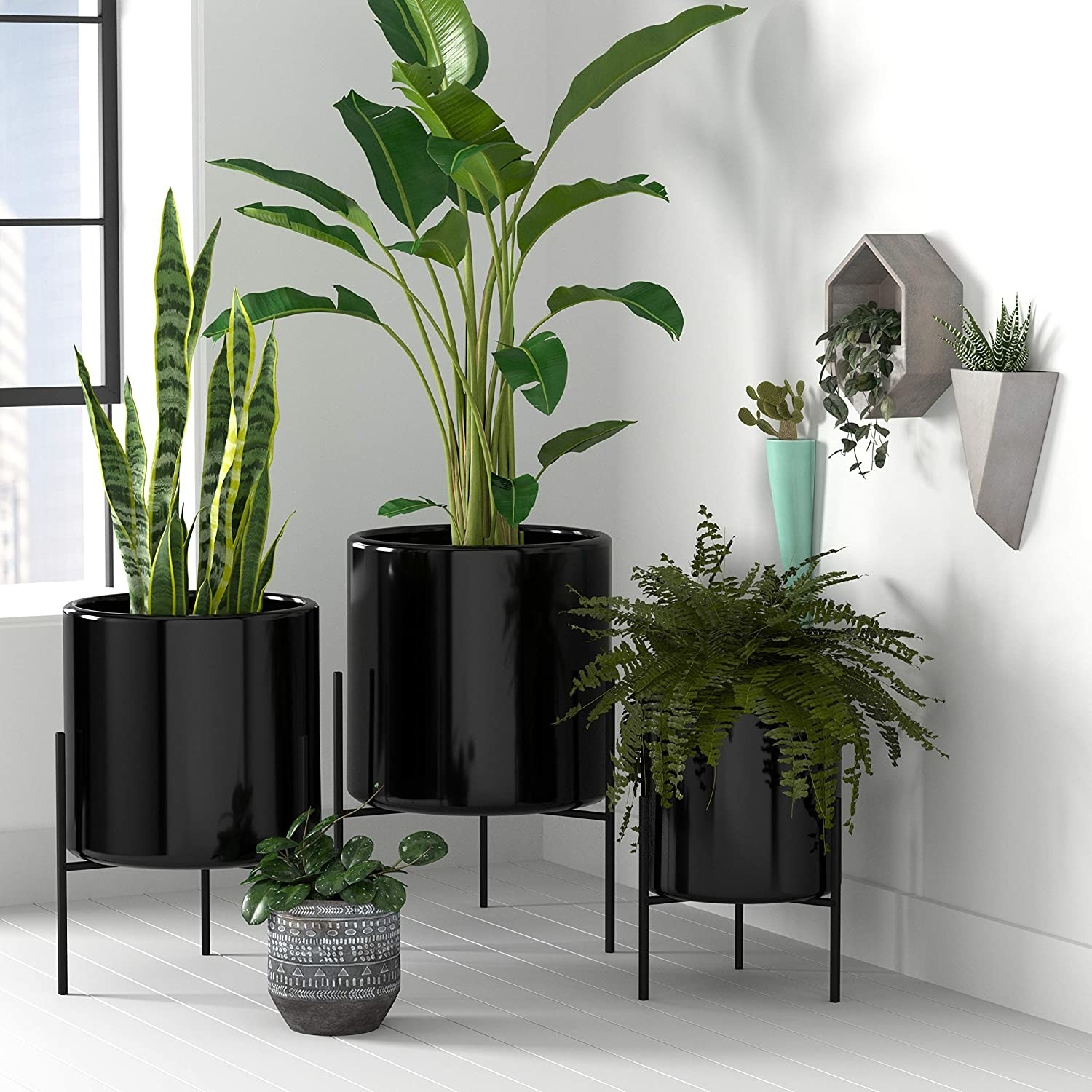 Three different sized black planters on black stands