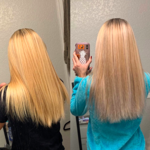 A reviewer showing the before and after using the shampoo with the after having a less yellow hue