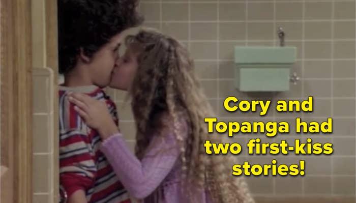 Topanga kissing Cory at the lockers
