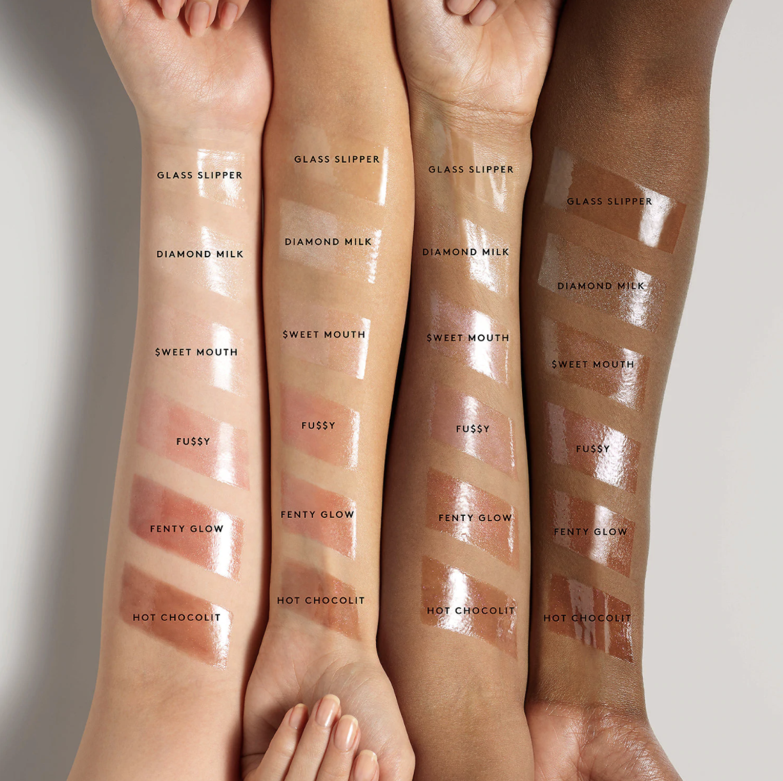 Six shade swatches across light, medium, tan, and deep skin tones