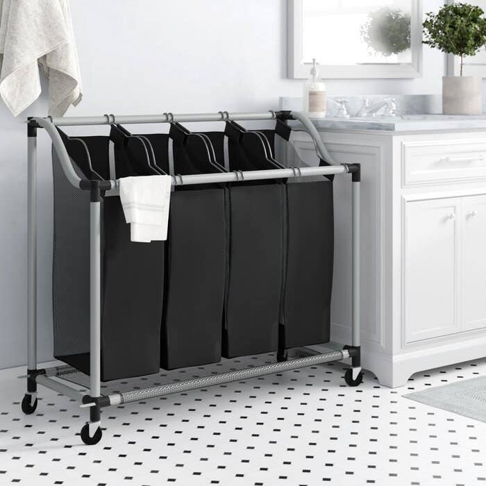 Deluxe quad laundry sorter with rolling wheels and four sorting compartments