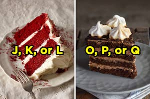 On the left, a slice of red velvet cake with