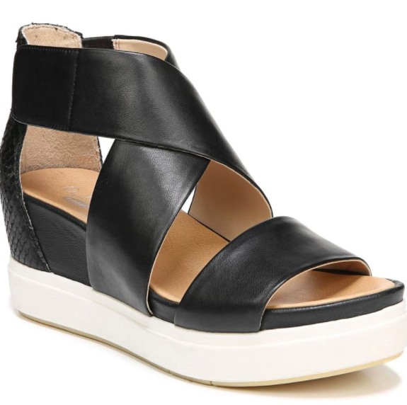 Black-and-white Dr. Scholl's Scout Sandal with a slight platform on the heel
