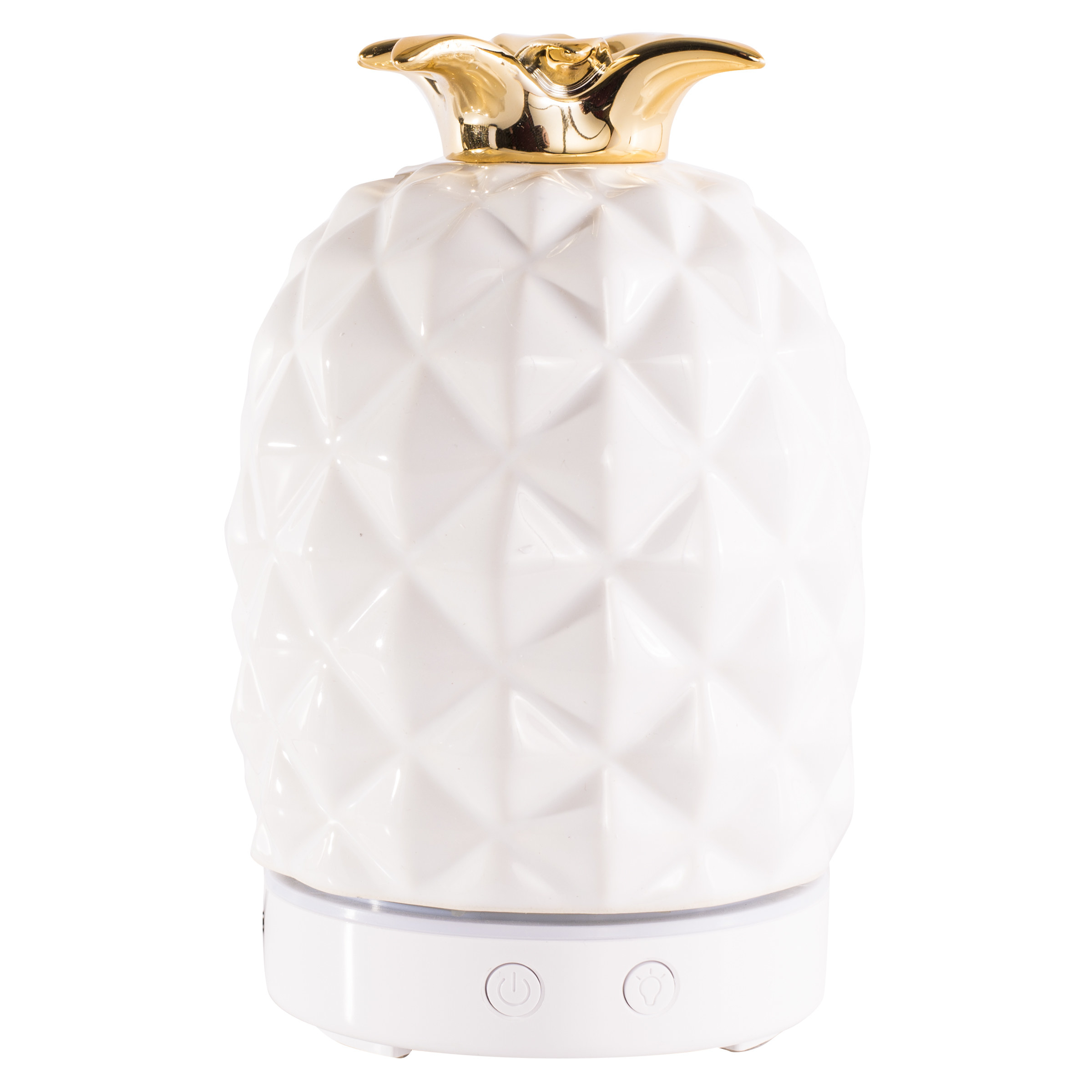 A white pineapple diffuser with a gold top
