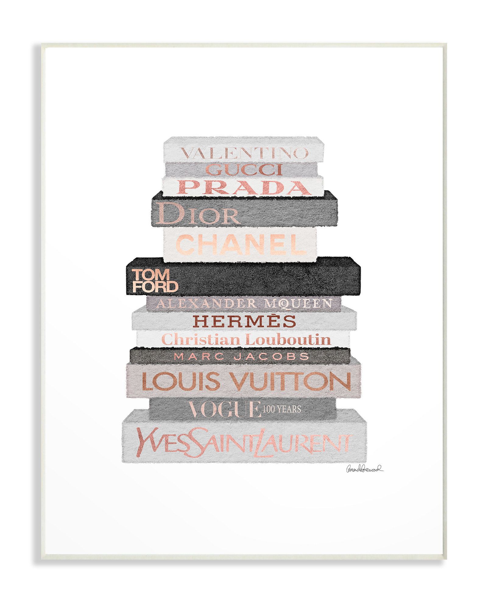 Gray, pink, and black print of books stacked that had fashion label names on them