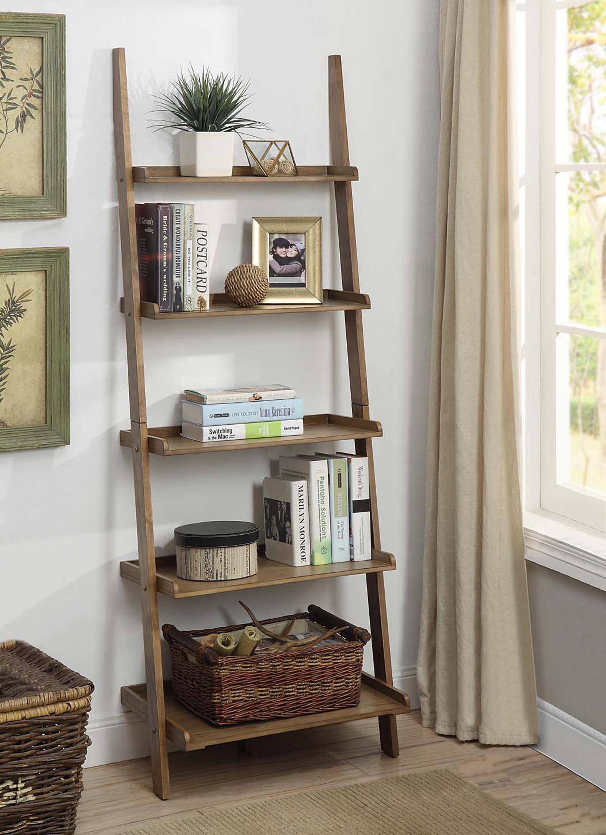 A five tier leaning bookshelf