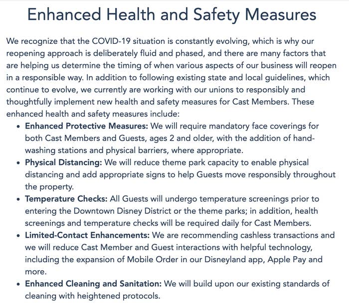 List of safety measures Disney is taking: social distancing, temperature checks, enhanced cleaning, limited contact, and enhanced protective measures.
