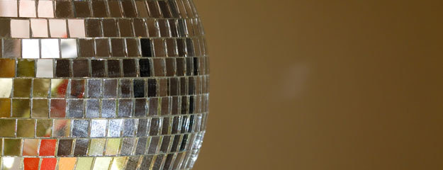 Disco ball with a brown background