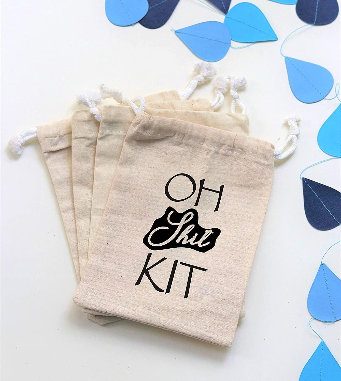 A drawstring bag that says oh shit kit