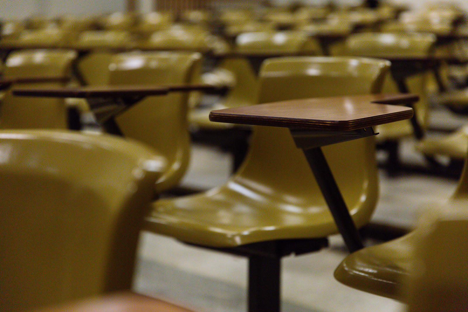 Classroom seats in a lecture hall.