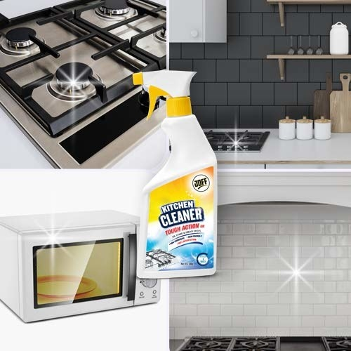 A Joff Kitchen Cleaner spray with a collage of different clean surfaces around the kitchen