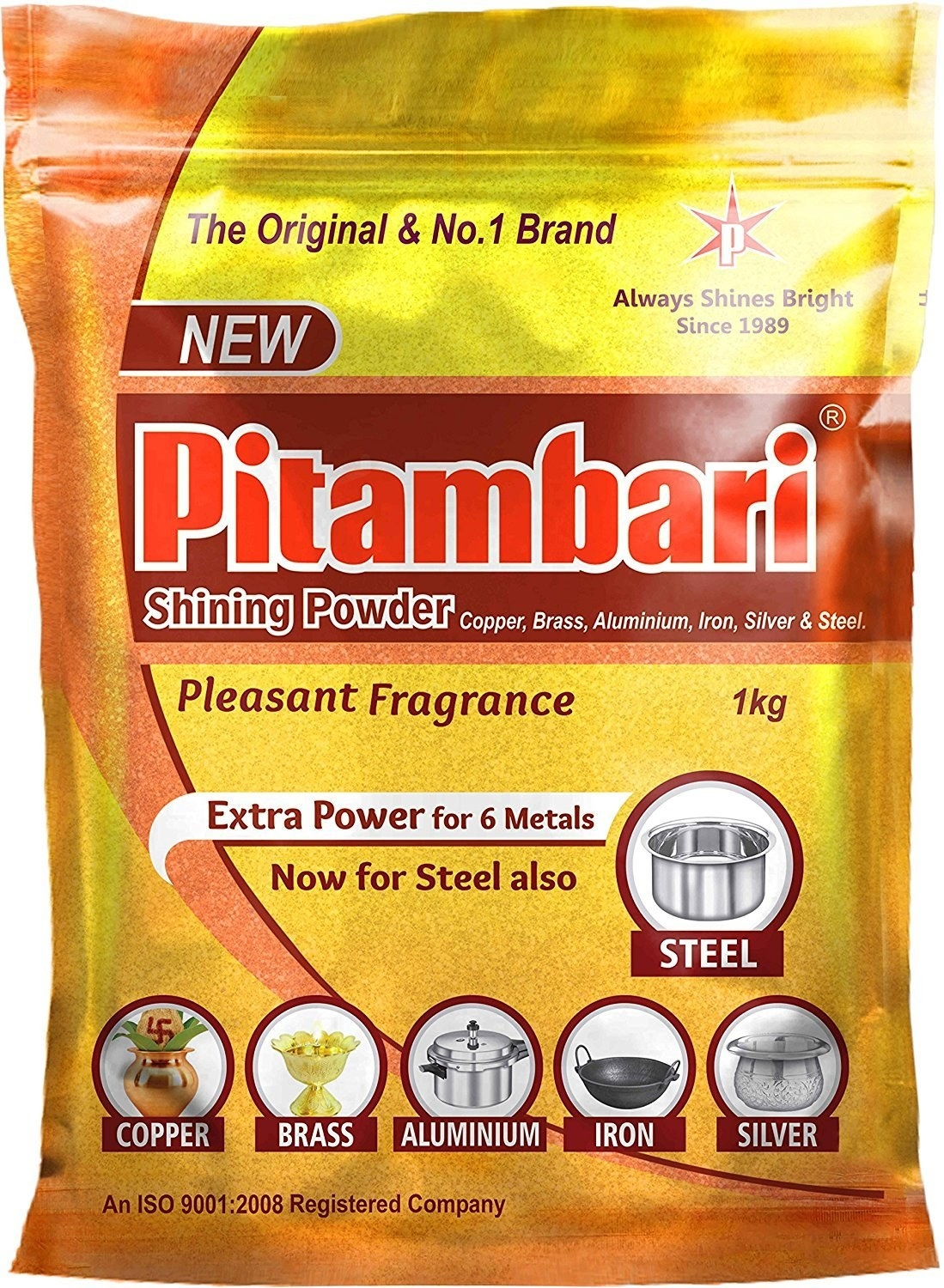 A packet of Pitambari shining powder