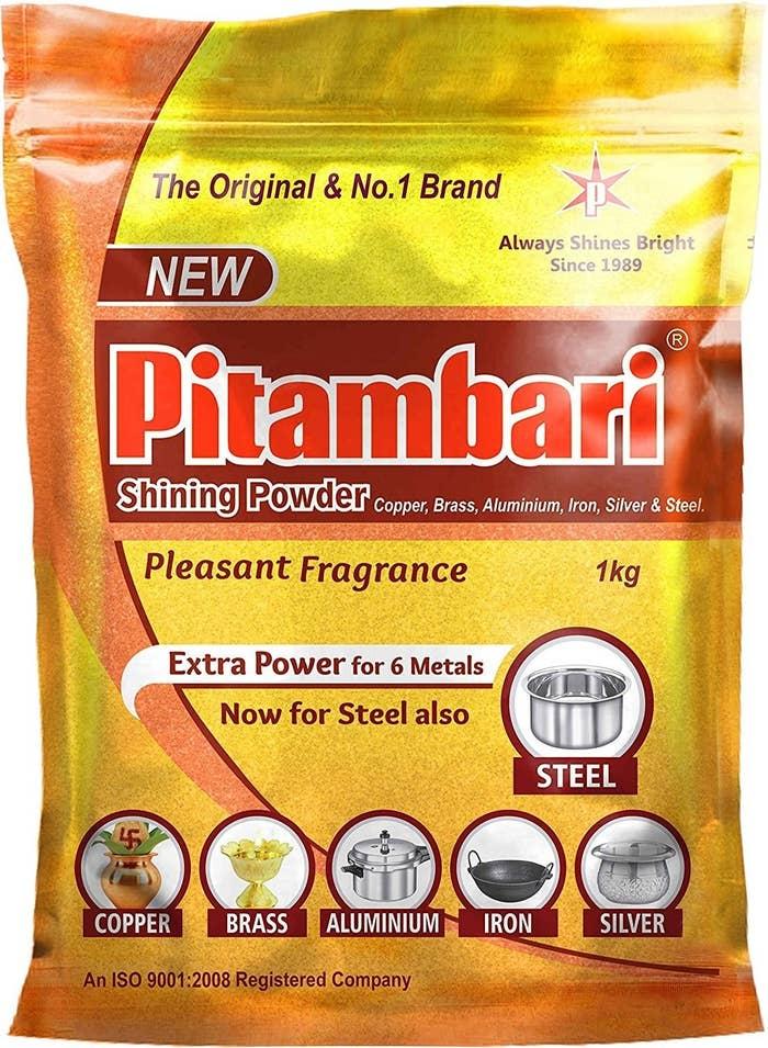 A packet of Pitambari shining powder