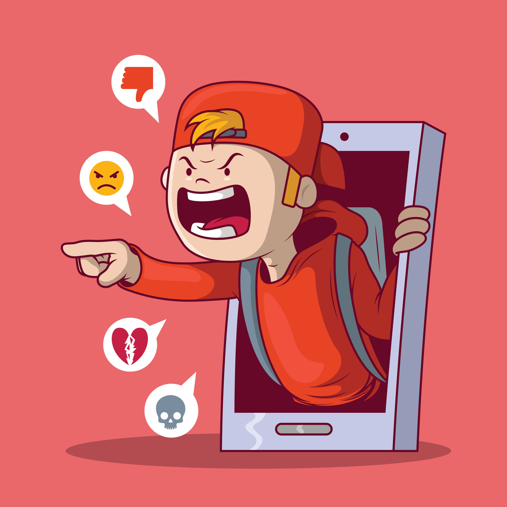 Stock photo of a cartoon boy in a red cap and hoodie coming through a smart phone to troll someone.