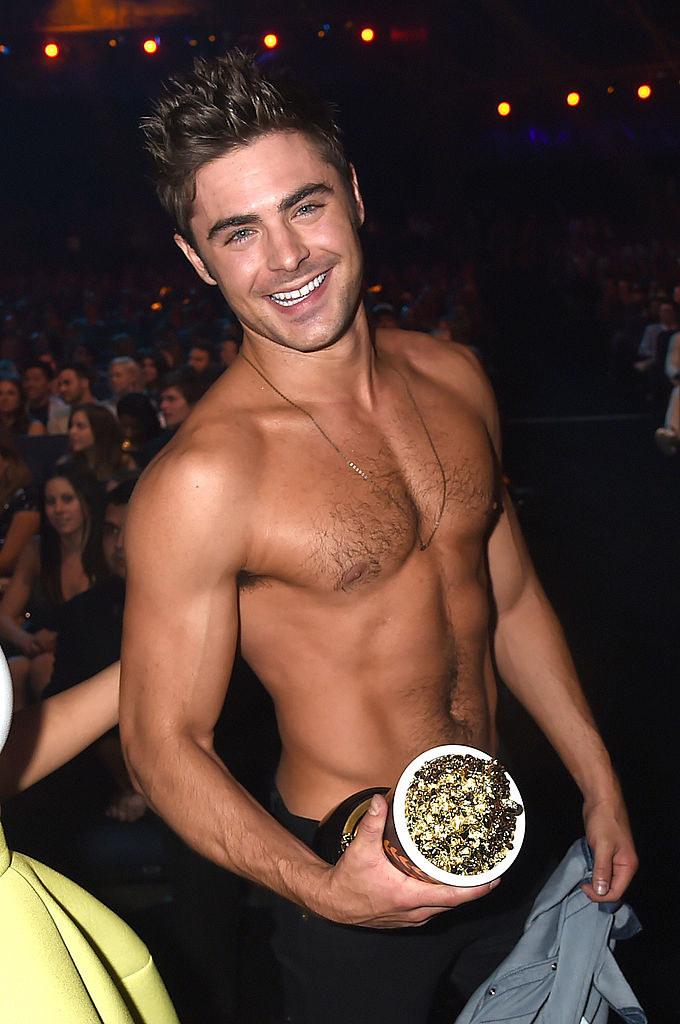 Zac Efron shirtless.