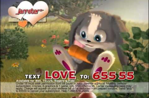 "A cute grey computer-animated bunny holding a carrot with the the words text ""Love to: 655 55"" written below it."