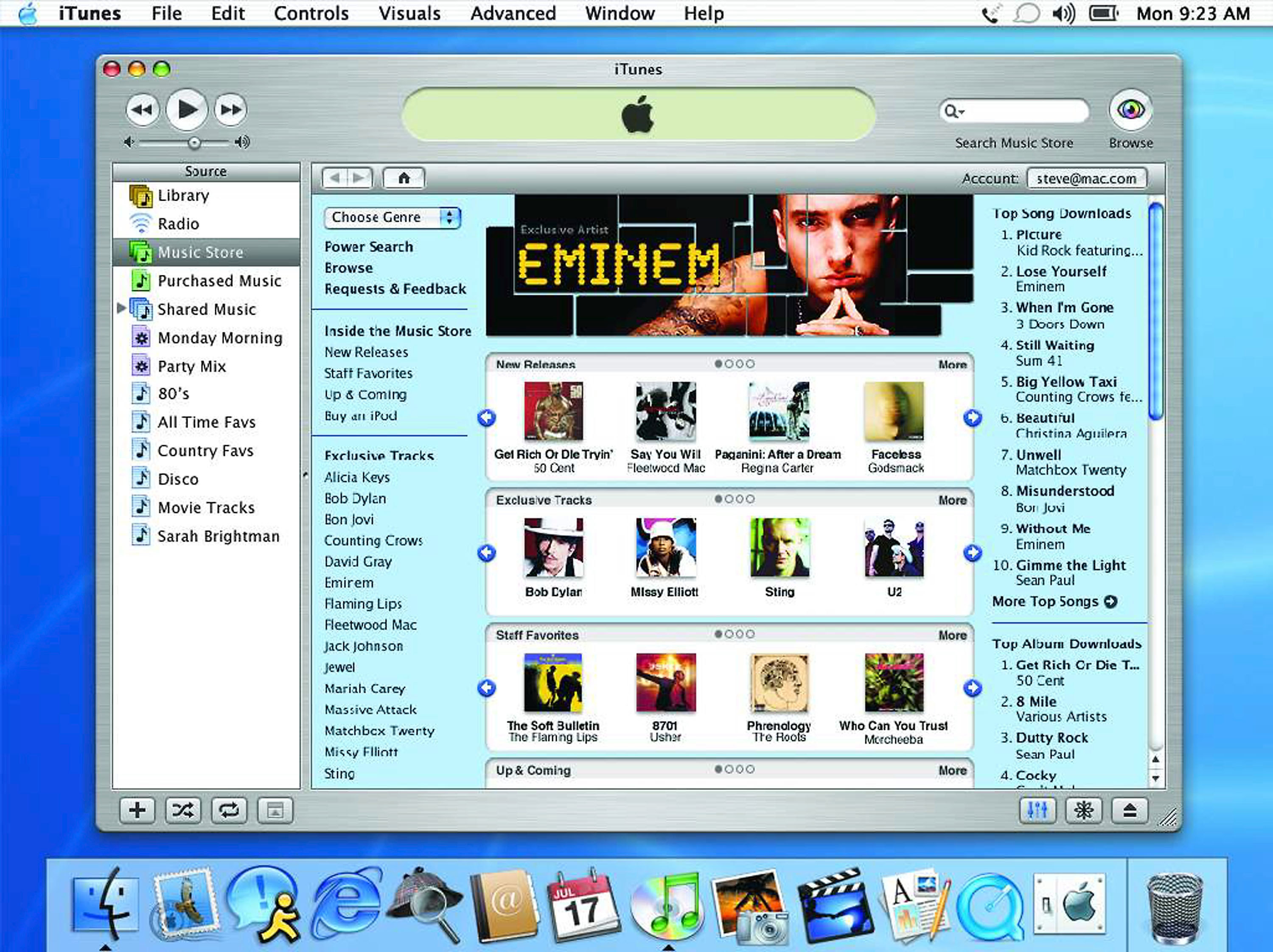 A photo of Mac desktop with the iTunes Music Store open circa 2003.