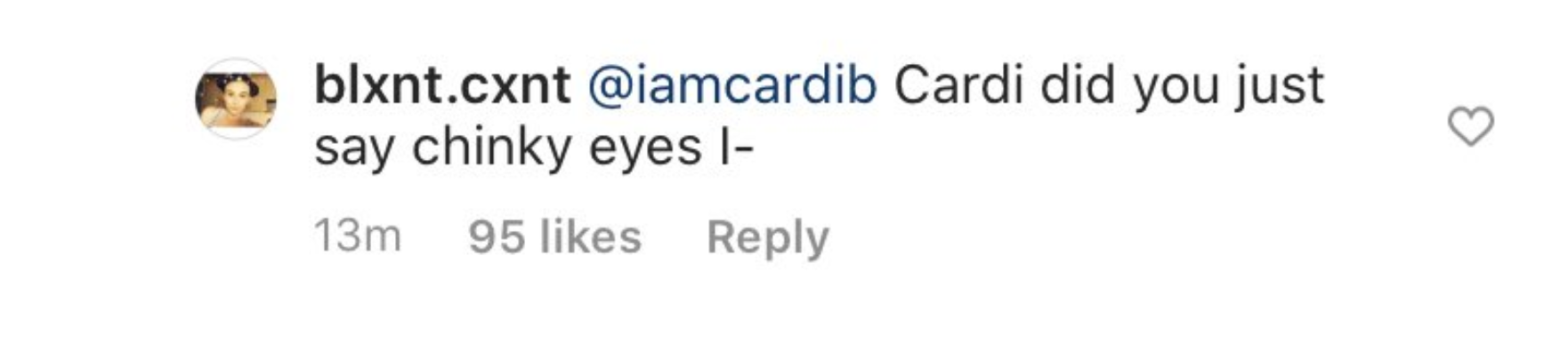 """A fan asks """"Cardi, did you just say chinky eyes?"""""""