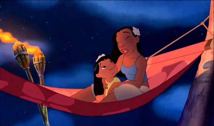 Nani and Lilo sitting in a hammock