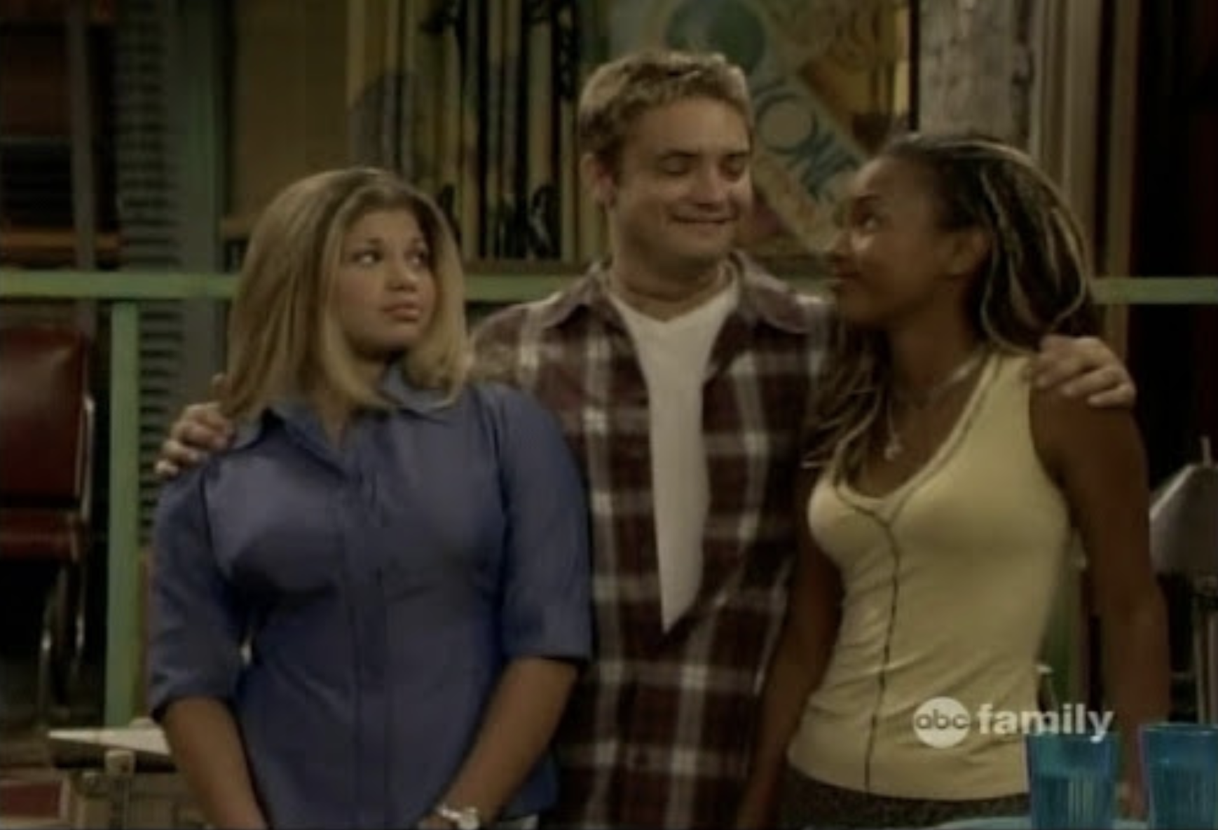 "Eric Matthews wraps his arms around Topanga and Angela on ""Boy Meets World"""