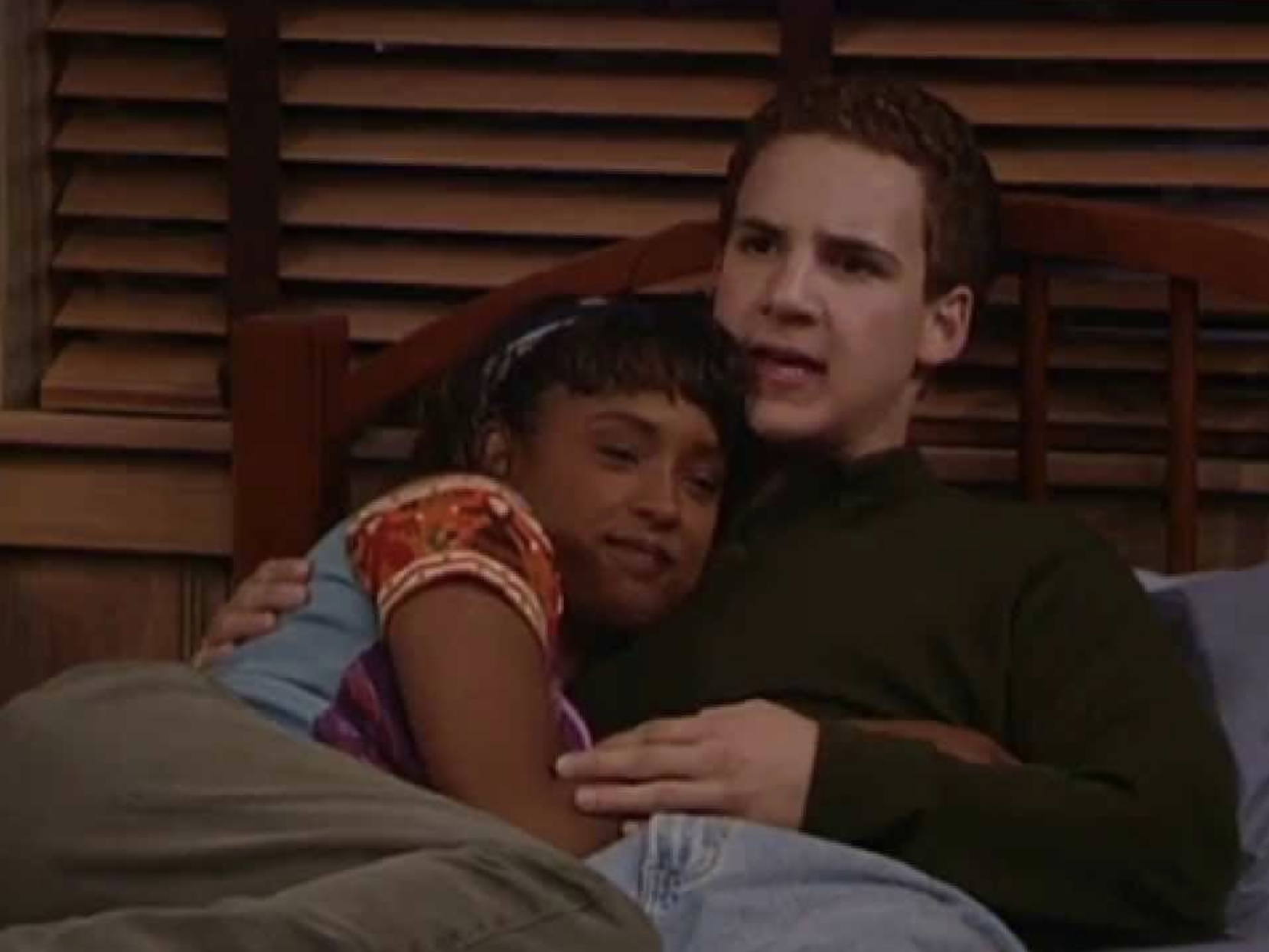 "Cory Matthews cuddles in bed with Angela on ""Boy Meets World"""