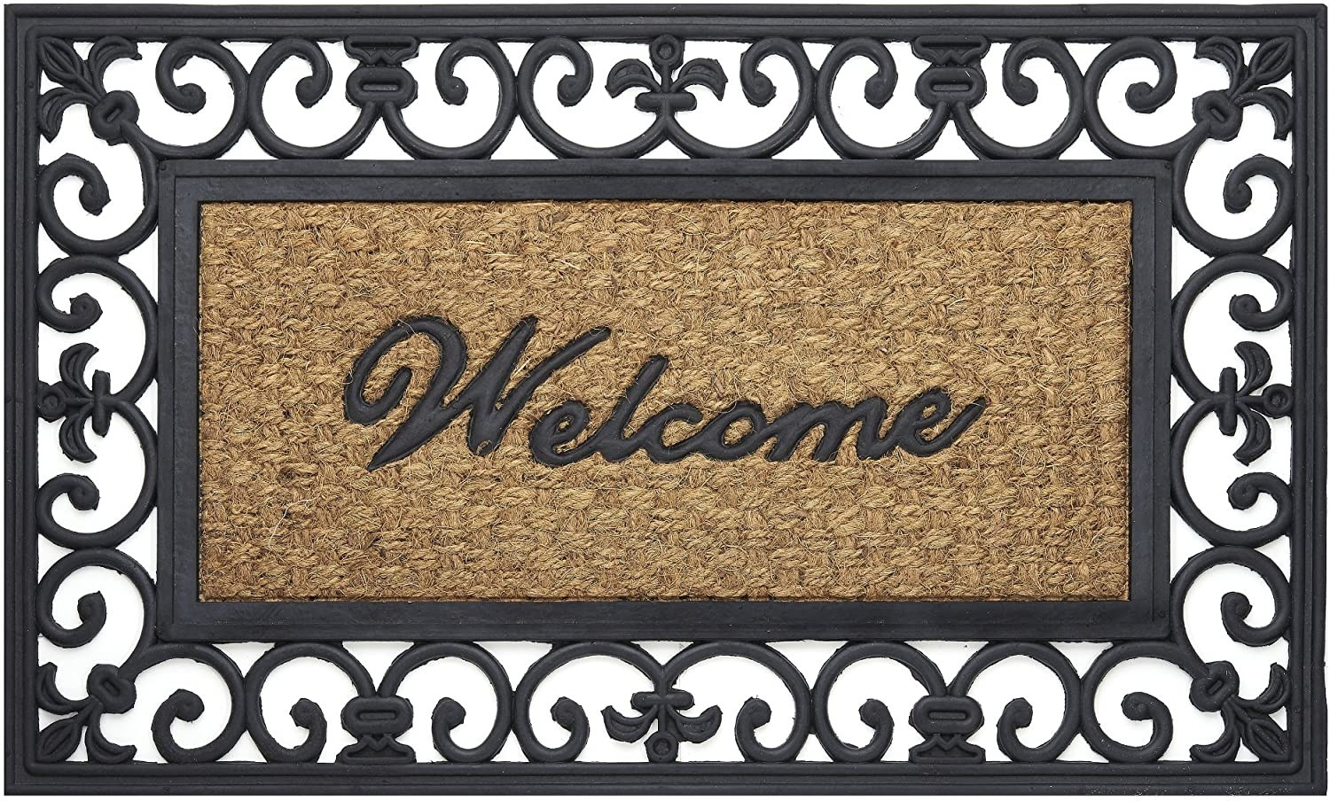 A mat that reads Welcome on it