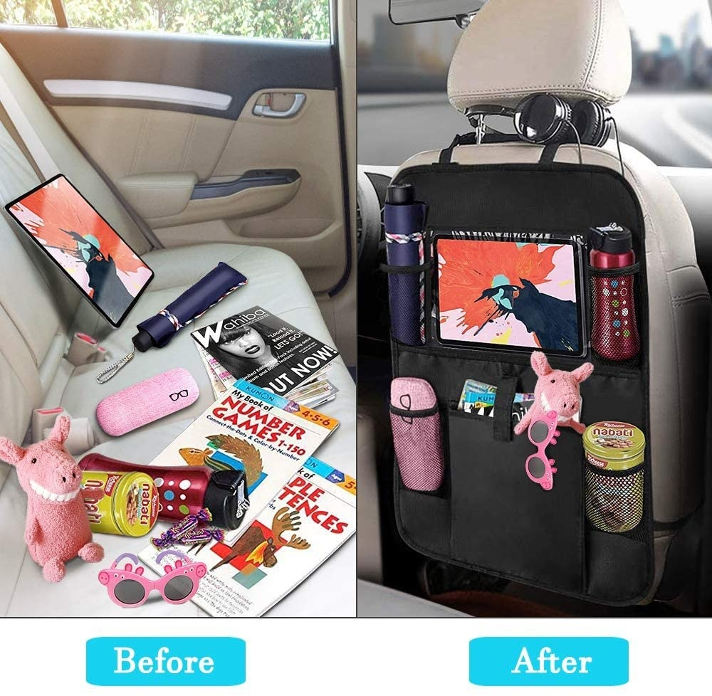 A before and after comparison of a messy backseat and the car organizer filled with the same stuff