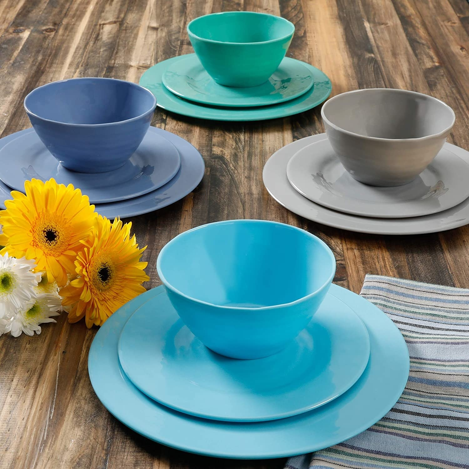 colorful bowl and plates on a dinner table