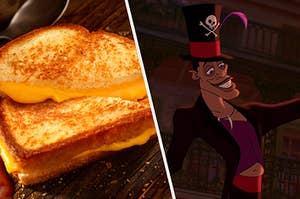 "On the left, a grilled cheese sandwich cut into two triangles, and on the right, Dr. Facilier from ""The Princess and the Frog"" smiles"