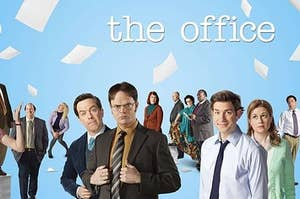 The cast of The Office posing as their ridiculous characters