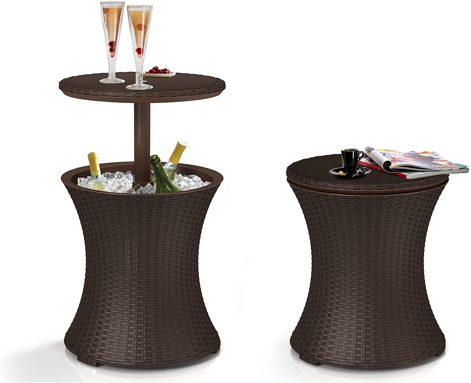 the side table with the top raised to reveal ice and bottles within, also view of the table jut as table