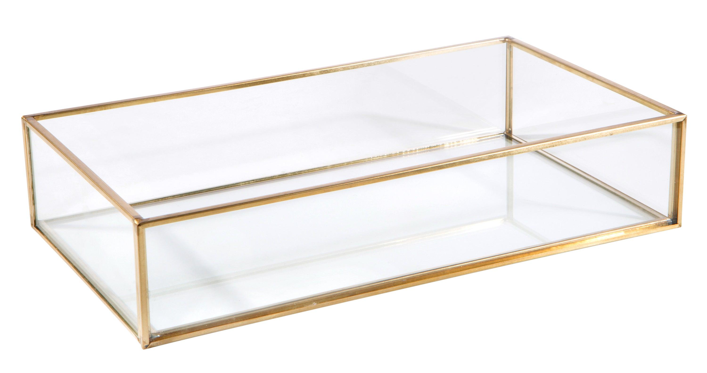 A gold framed rectangular glass vanity tray