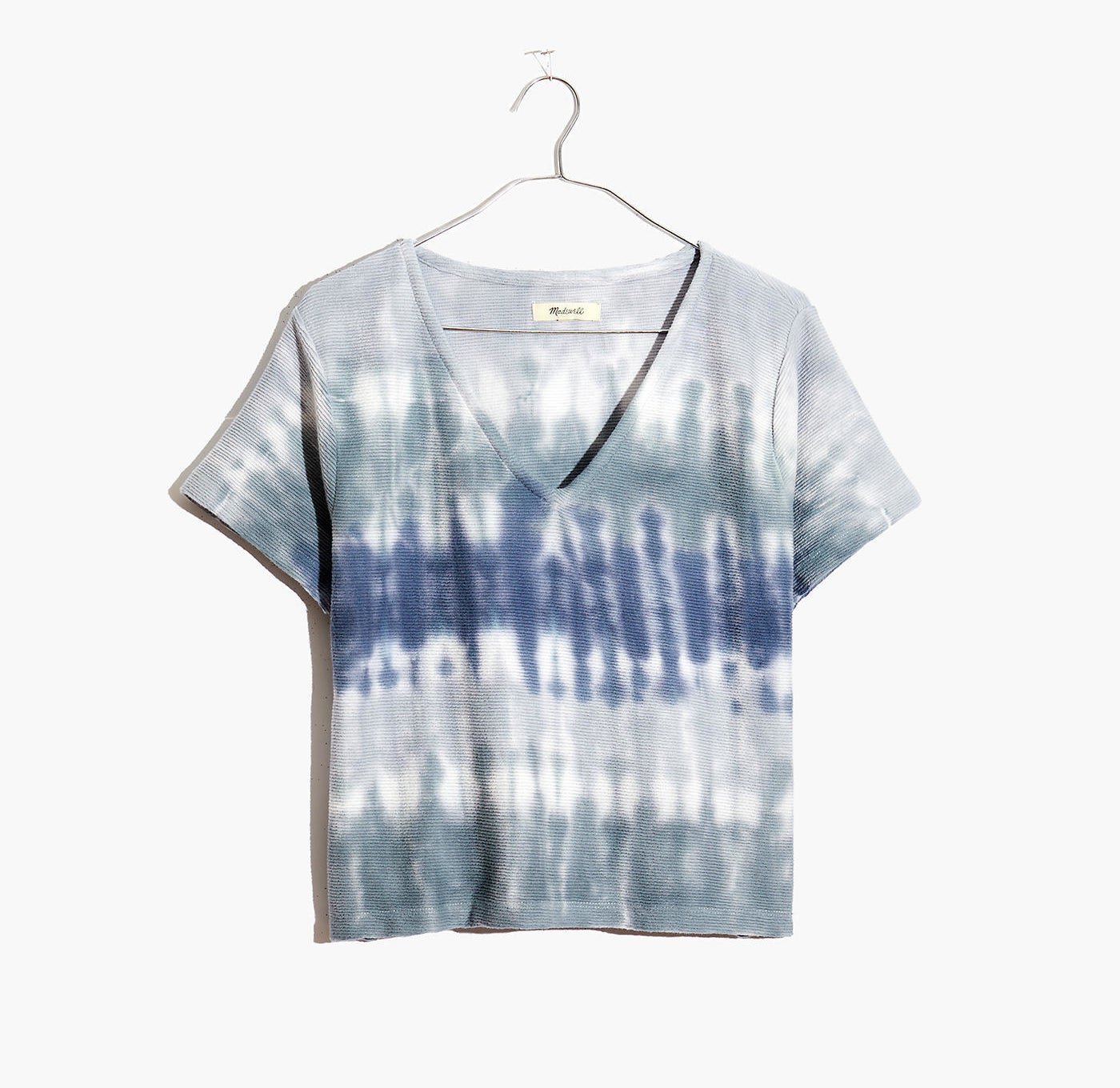 V-neck t-shirt with a blue-striped tie-dye design