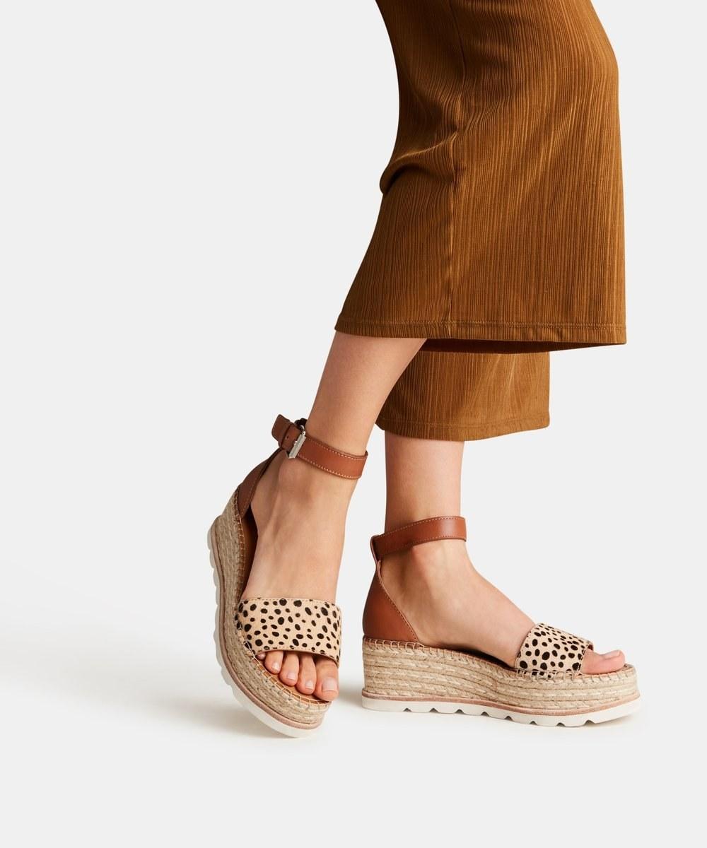 platform sandals with leopard print straps