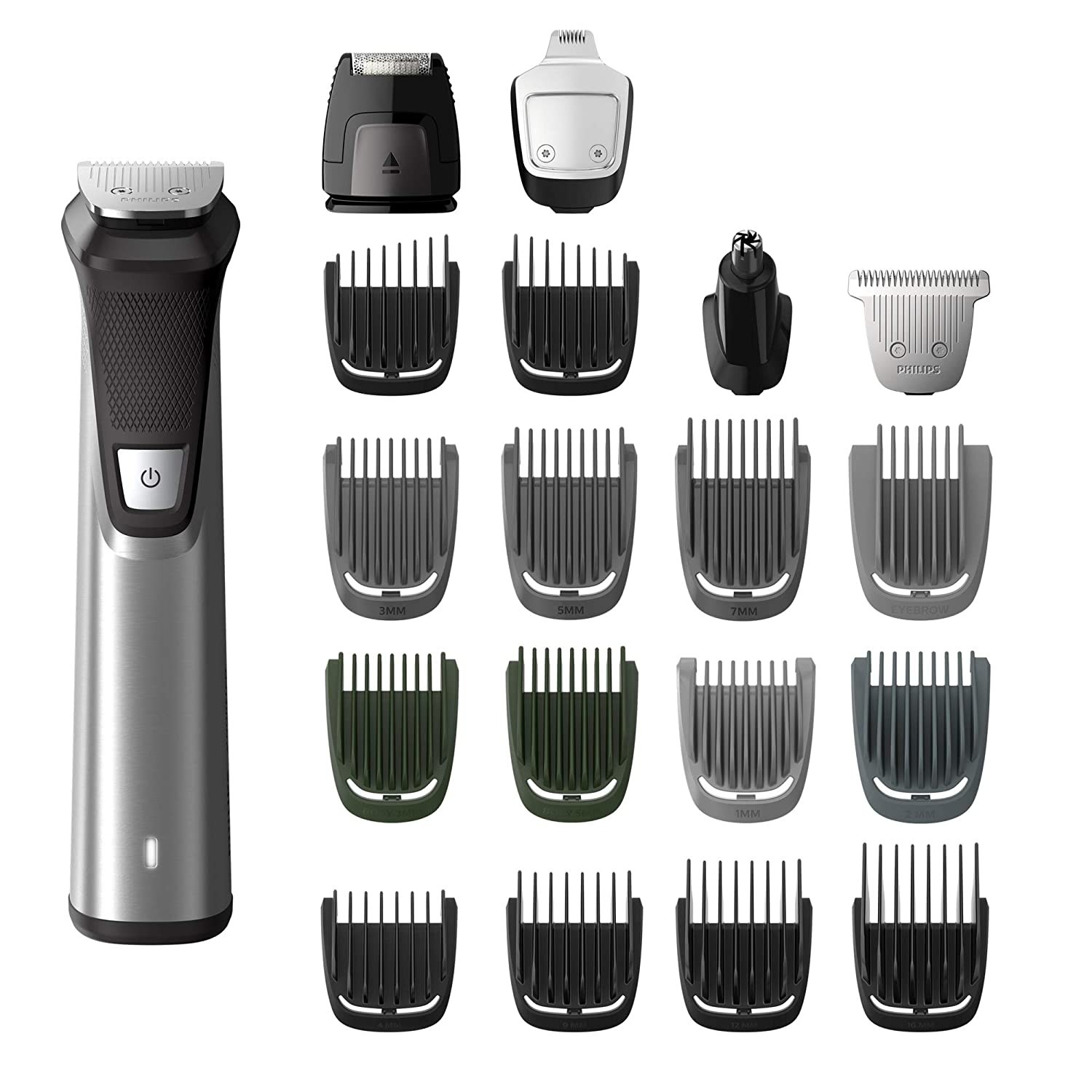 A silver and black trimmer with eighteen different shaving attachments